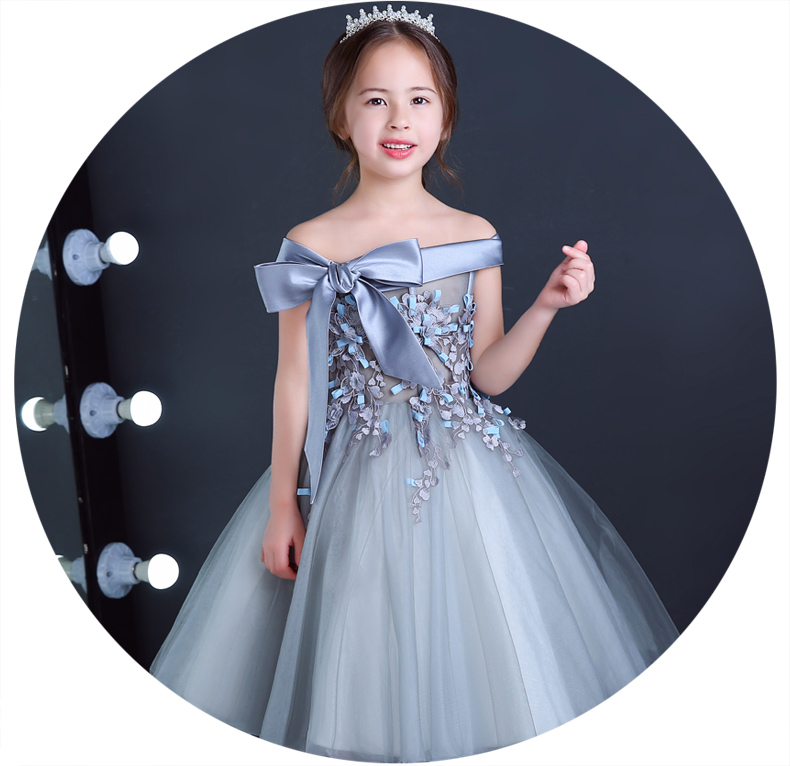 Bow Lovely Lace Appliques Beaded   Flower     Girl     Dresses   Kids Evening Gowns For Wedding First Communion   Dresses   vestido comunion