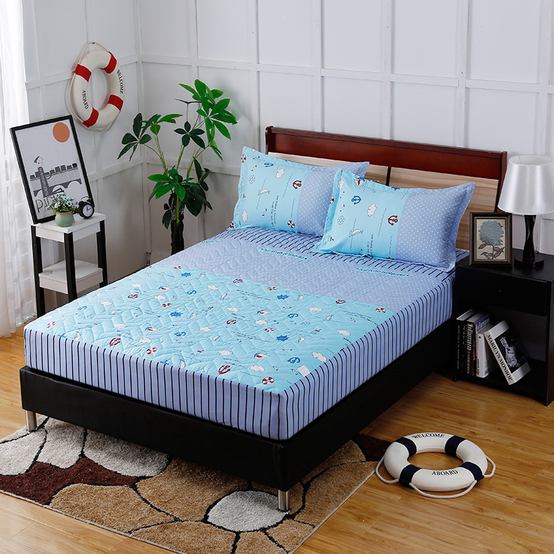 Comfortable Soft Of 3pc Bedding Fitted Sheet +Pillowcase Modern Fashion New Trend Of European Style Sky Blue Pattern