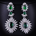 Women Drop Dangle Silver Earrings Cubic Zirconia Green Stone Bride Luxury Jewelry Gift