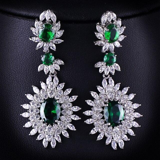 Women Drop Dangle Silver Earrings Cubic Zirconia Green Stone Bride Luxury Jewelry Gift