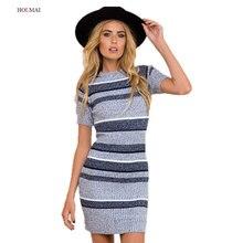 Woman O-Neck Knitted Autumn Dress 2016 Winter Striped Sexy Bodycon Party Club Midi Dresses Plus Size Women's Warm Clothes Blue