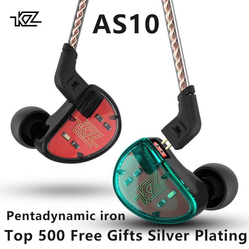 KZ AS10 5BA Unité D'entraînement Dans L'écouteur D'oreille 5 Armature Équilibrée Amovible Détacher 2Pin Câble DJ HIFI Moniteur Écouteurs KZ ZS10 KZ ES4