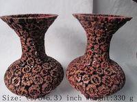 한 쌍의 절묘한 중국어 고전 호두 나무 수동 조각 꽃병