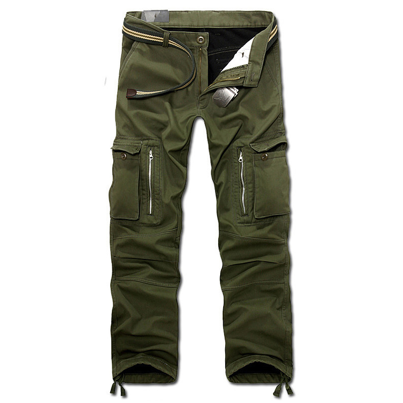 Drop Shipping 2018 New Men Winter Pants Men's Cargo Pants Baggy Trousers 3 Colors 28-40 Without Belt AXP112