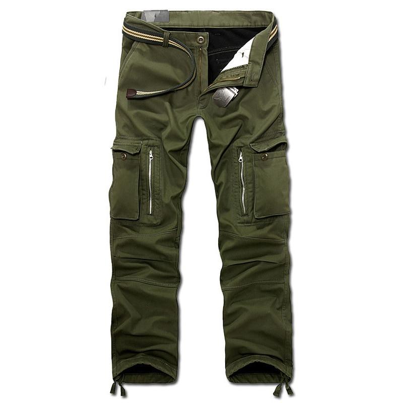 Drop Shipping 2018 New Men Winter Pants Men's Cargo Pants Baggy Trousers 3 Colors 28-40 Without Belt AXP112