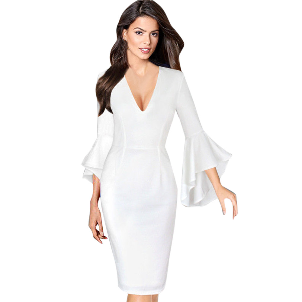 2017KLV Women Sexy Deep V neck Elegant Work Business Casual Party Flare  Bell Long Sleeve Office Party Bodycon Dress 20-in Dresses from Women s  Clothing on ... aa5c6fb46657