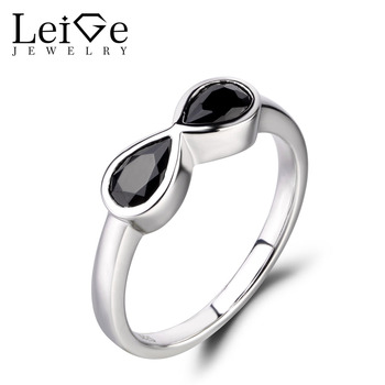Leige Jewelry Natural Black Spinel Ring Sterling Sliver 925 Fine Jewelry Pear Cut Gemstone Double Stones Eternity Rings For Girl