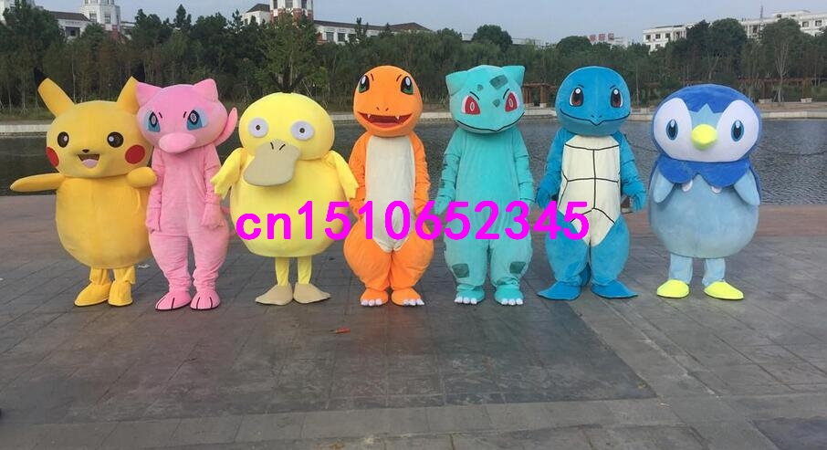 Poke Mascot Costume Pikachu&Charmander&Squirtle&Piplup Blue Penguin Mascot costume toy story costumes adult