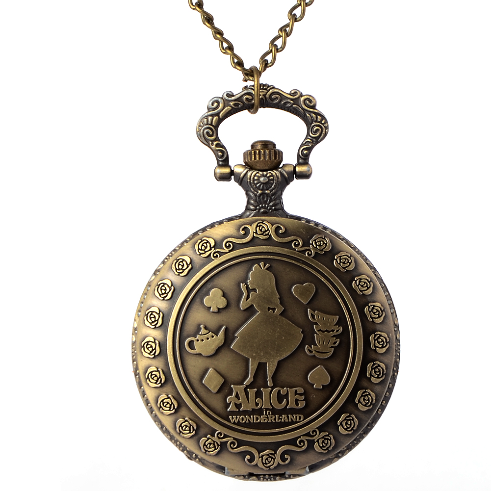 Vintage Copper Pocket Watch Bronze Necklace Quartz Fob Watch Women Ladies Necklace Pendant Chain Clock Christmas Brithday Gift vintage bronze train locomotive quartz pocket watch creative green dial men women pendant gift with necklace fob chain watches