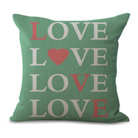 LOVE is Sweet Pillow Case Cotton Linen Sweet Love English Letters Pillowcase Living Room and Bedroom Soft Pillow Slip 5 Types