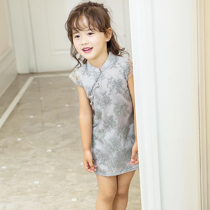 2017 Sommer Kinesisk stil Retro behagelig qipao Kjole sød Barn pige - Børnetøj - Foto 2