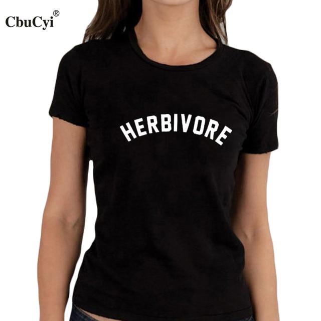 94b5b9ca42 Herbivore T-shirt Funny Tumblr Blogger Slogan Women Vegan Clothes Black  White Tee Shirt Femme Harajuku T Shirt