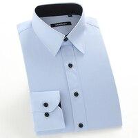 Men S Regular Fit Solid Inner Contrast Point Collar Dress Shirt Plus Size 5XL Long Sleeve