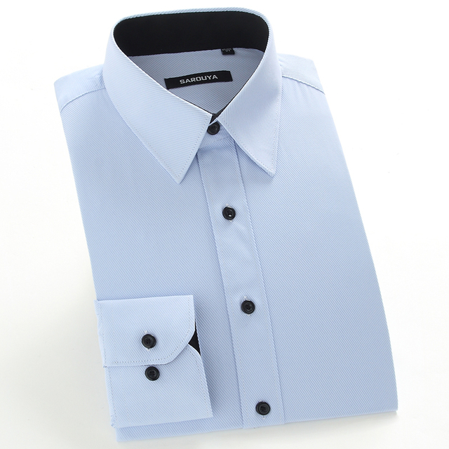 33c0cd65b62b5 Men s Regular Fit Solid Inner Contrast Point Collar Dress Shirt Plus Size  5XL Long Sleeve Formal Business Male Tops Twill Shirts