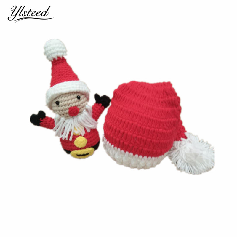 Christmas Baby Hat Father Christmas Doll Newborn Photography Props Crochet Infant Outfits for Photoshoot Baby Photo Props