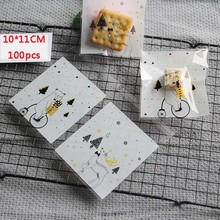 100Pcs Cartoon Deer Bear Packaging Candy Cookie For Sweets Wedding Party Present Packing Favors Gift Transparent Bag Goodie Bags