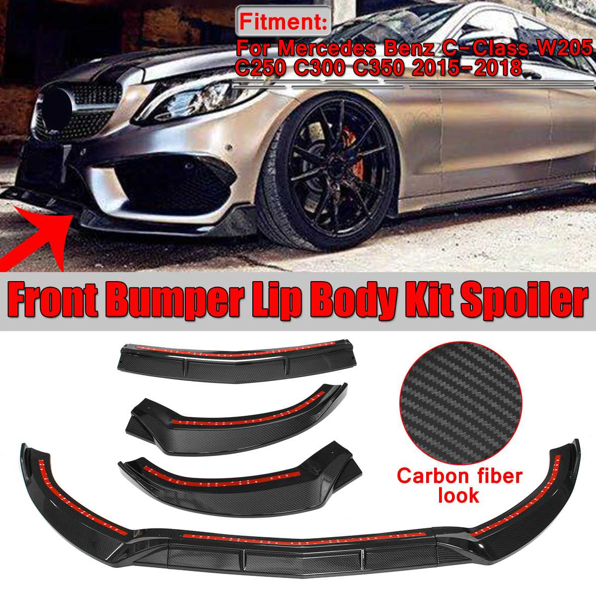3Pcs W205 Car Front Lip Chin Bumper Lip Spoiler Splitters Body Kit For Mercedes For Benz C-Class W205 C250 C300 C350 2015-2018