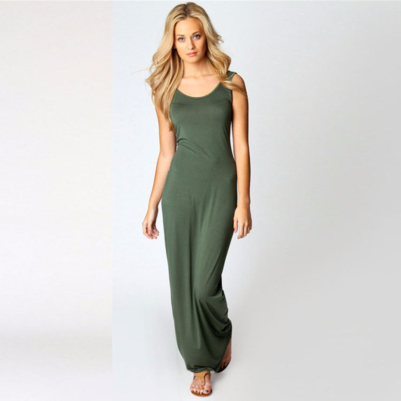 Summer New Fashion Basic Vest long Dress Women Back Split Dress