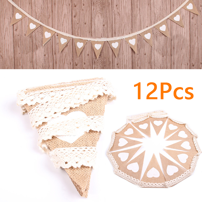 12PCS/SET Wedding Decoration Flags Banners Heart Jute Bunting Burlap Garland Home Party Decoration
