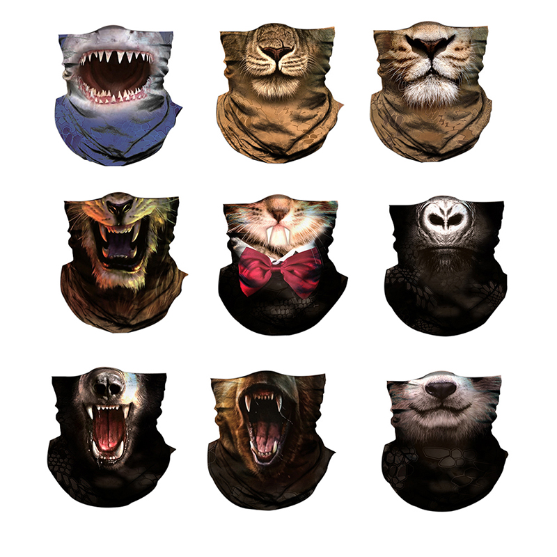 Multiway Outdoor Bandana Men Women 3D Animal Printing Climbing Hiking Cycling Fishing Windproof UV Protection Halloween F2