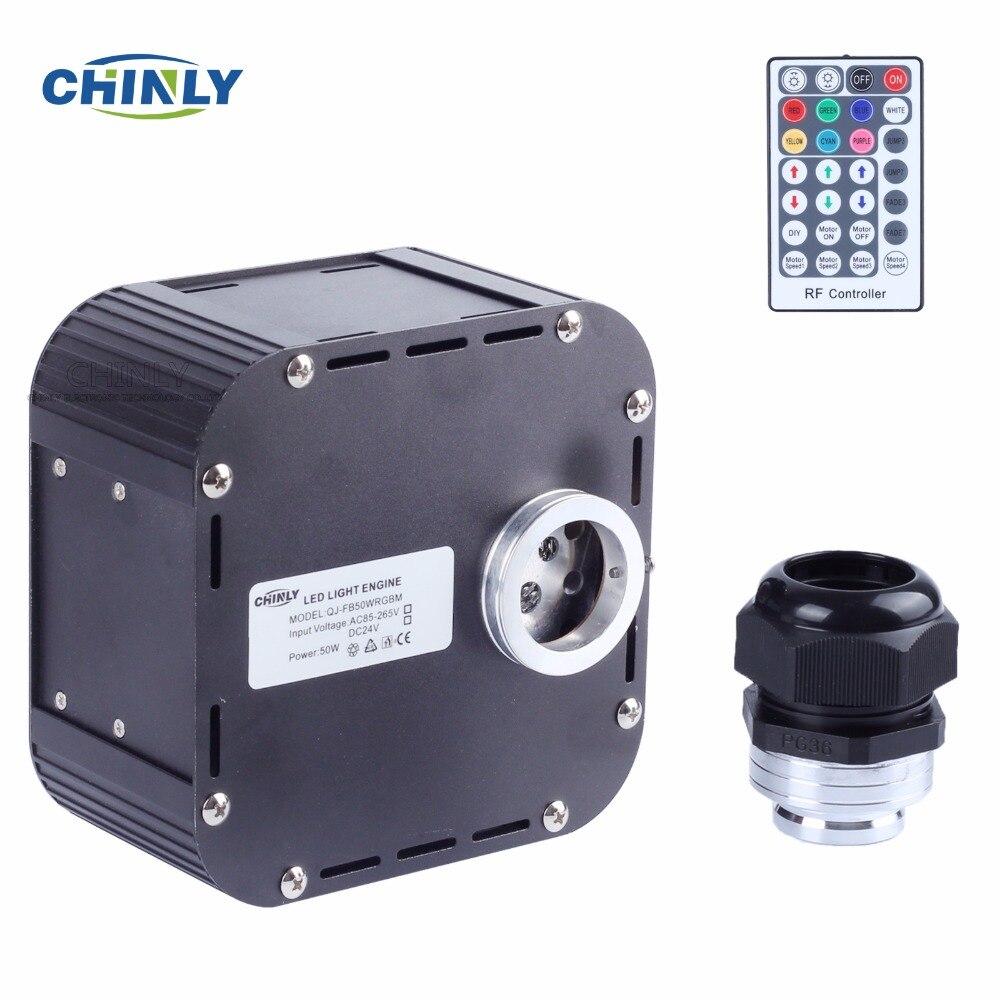 50 w RGBW Scintillement Fiber Optique Moteur DMX512 Soutenu Lumières à Fibers optiques Machine avec DMX Prise et 28 Touches RF contrôleur à distance