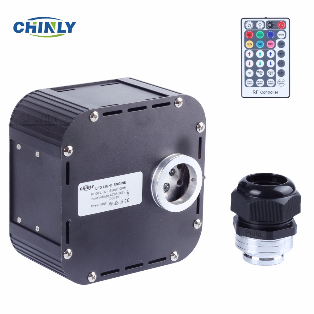 цена на 50W RGBW Twinkle Fiber Optic Engine DMX512 Supported RGBW Fiber optic Lights with DMX Plug 28 Key RF Remote for Optical lighting