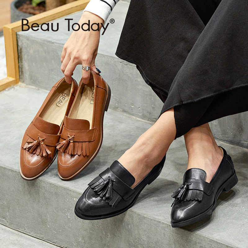 de326212bb3 BeauToday Loafer Shoes Women Top Quality Genuine Calf Leather Fringe Tassel  Casual Flats Brand Lady Shoes