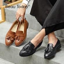BeauToday mokasyny damskie najwyższej jakości prawdziwa skóra cielęca Fringe pomponem przypadkowi mieszkania buty damskie marki Handmade 27081