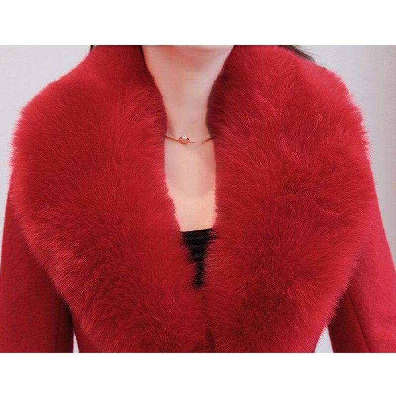 Femmes D'extérieur Col Qualité Manteau Fourrure red En pink Grand Hiver K161 Vêtements Black Long Manteaux D'hiver Yagenz Parka De Grande Taille Rose Haute stripe Laine Vestes 5pzqUtnWx