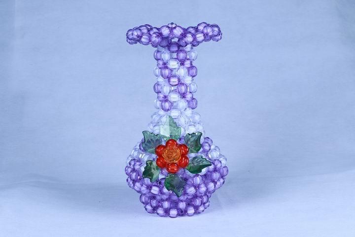 The Acrylic Beads Hand Weaving Diy Arts Crafts Flower Vase