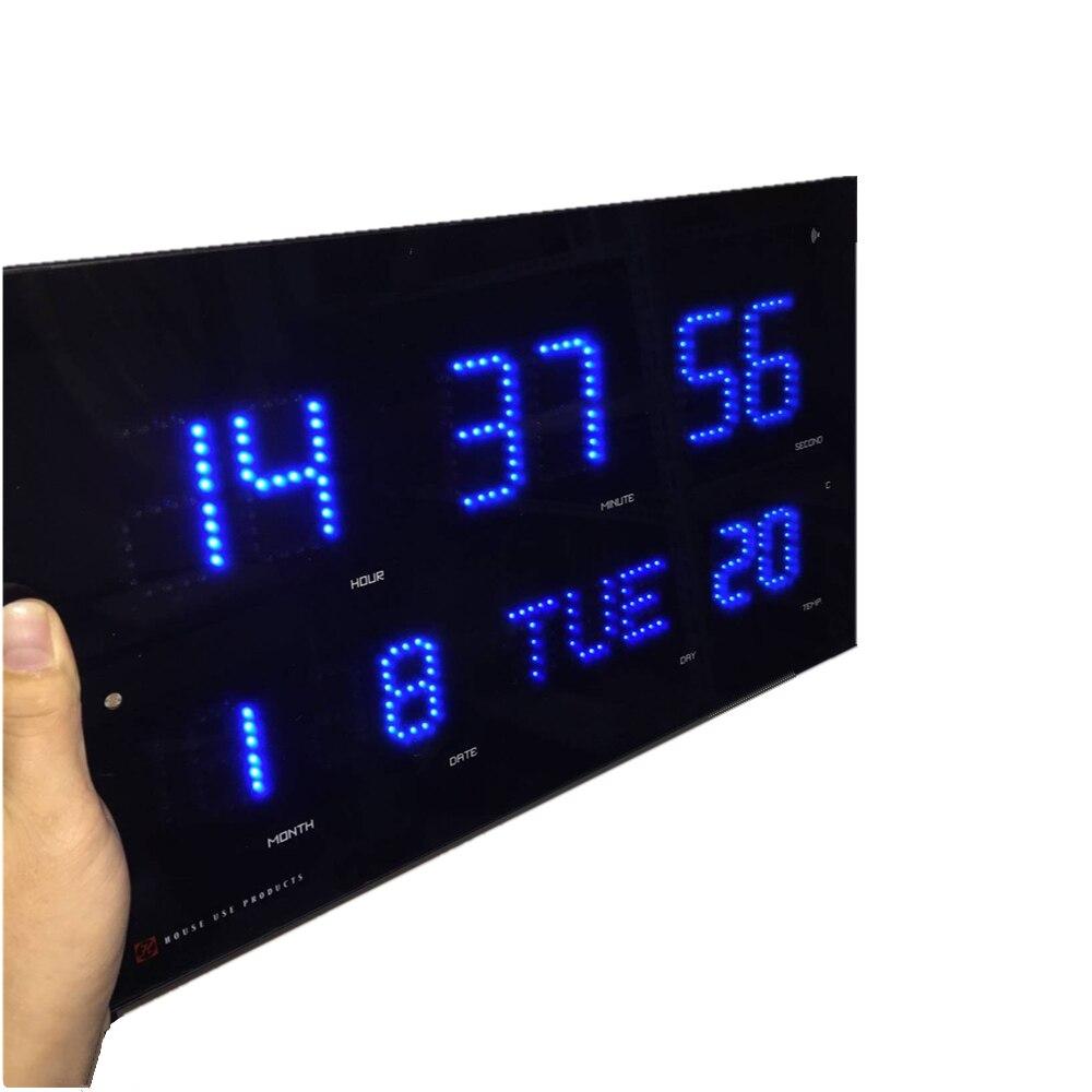 Automatisch einstellen helligkeit Led wanduhr modrern elektronische Led kalender uhr mit temp und woche display Wavecepter uhr-in Wanduhren aus Heim und Garten bei  Gruppe 2