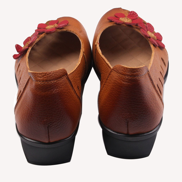 Xiuteng Cowhide Handmade Floral Fashion Shoes Woman Cover Heels 2017 Embroidery Genuine Leather Shoes Hollow Sandals Women Pumps