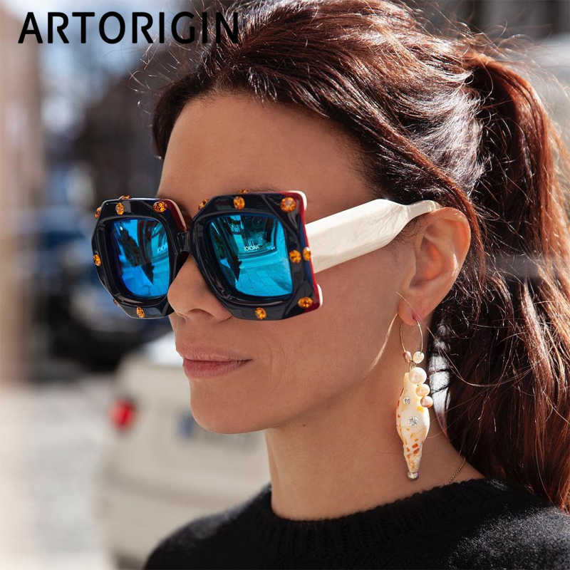 Oversize Square Sunglasses Women Rhinestone Luxury Brand Designer Sun Glasses Mirror Coating Fashion Women Shades