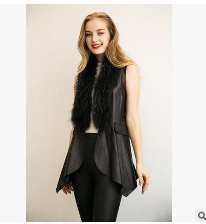 Free Shipping Womens Winter Autumn Faux Fur Vests Casual Patckwork Pu Leather Waistcoats Plus Size Sleeveless Vest Coats J1715