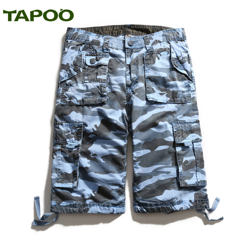 TAPOO Shorts Men Summer Beach Short Casual Cotton Shorts Solid Pockets Hot Trousers for Men Masculino Curto Khaki Blue Green815