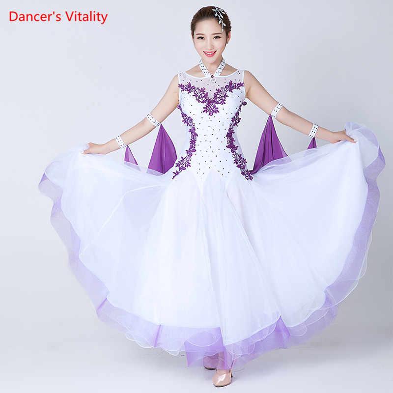Профессиональные женские платья без рукавов для бальных танцев, вальс, фламенко, танго, конкурс, стандартное черное, белое платье для женщин