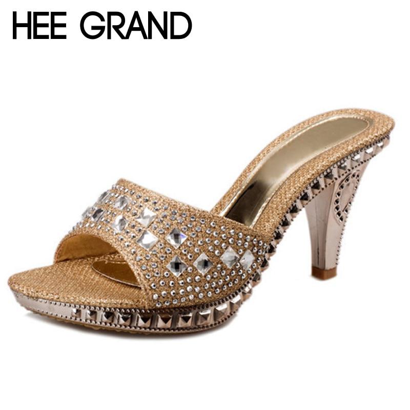 HEE GRAND Women Elegant 2017 Summer Slides Thick High Heel Rhinestone Slippers XWZ2120(China)