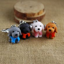 Hot Sale Lovely Resin Scarf Mini Dog Key Chain Ring Holder Fashion High Quality Jewelry Cute Gifts For Lover Friends