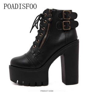 eed554c71f24 POADISFOO 2018 autumn Ankle Boots Leather Women shoes