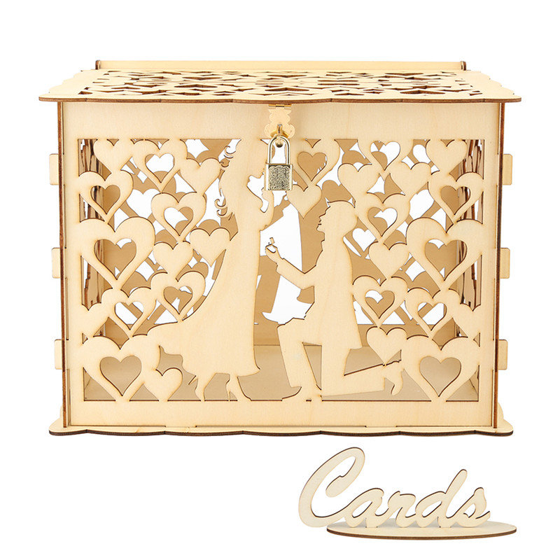 DIY Wedding Gift Card Box Creative Wooden Hollow Cards Box Container with Lock Guest Wedding Ornament Birthday Party DecorationDIY Wedding Gift Card Box Creative Wooden Hollow Cards Box Container with Lock Guest Wedding Ornament Birthday Party Decoration