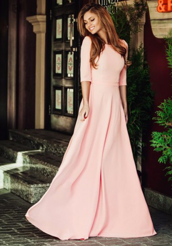 pink-plain-ruffle-elbow-sleeve-elegant-maxi-dress (1)