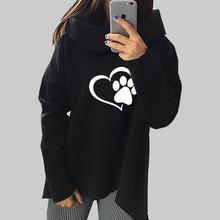 Paw Print Pullover With Cowl Neck