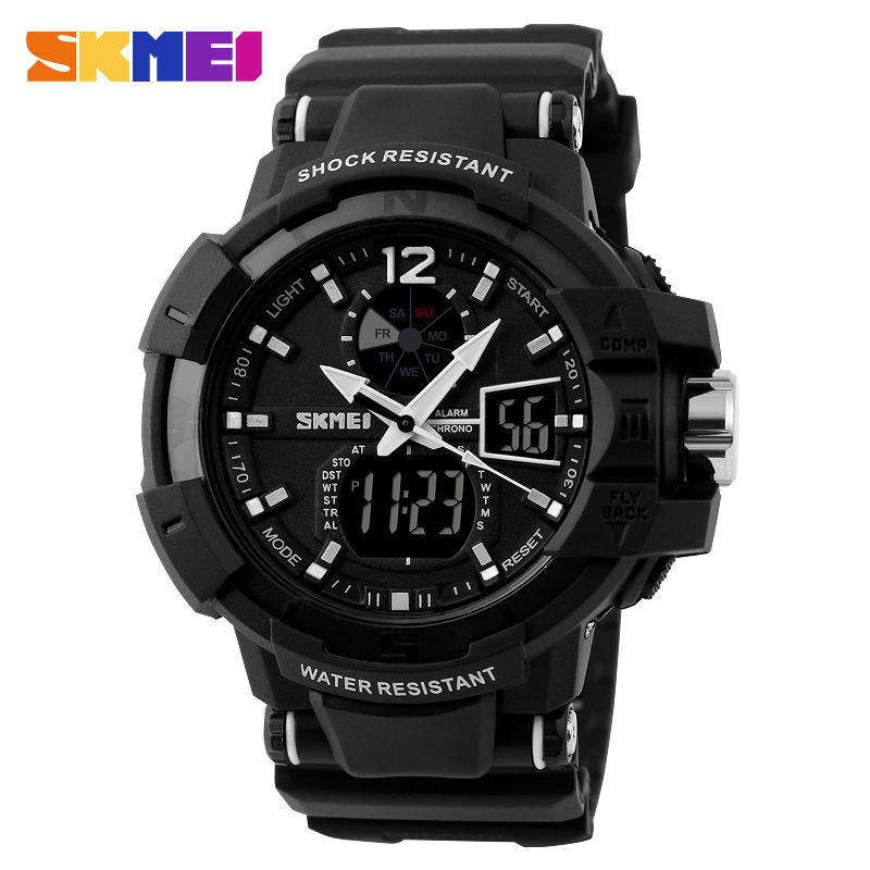 2018 Men Sports Watches 2 Time Zone Digital Quartz Watch Dive 50M Waterproof LED Electronic Multifunctional Military Wristwatch bewell multifunctional wooden watches men dual time zone digital wristwatch led rectangle dial alarm clock with watch box 021a