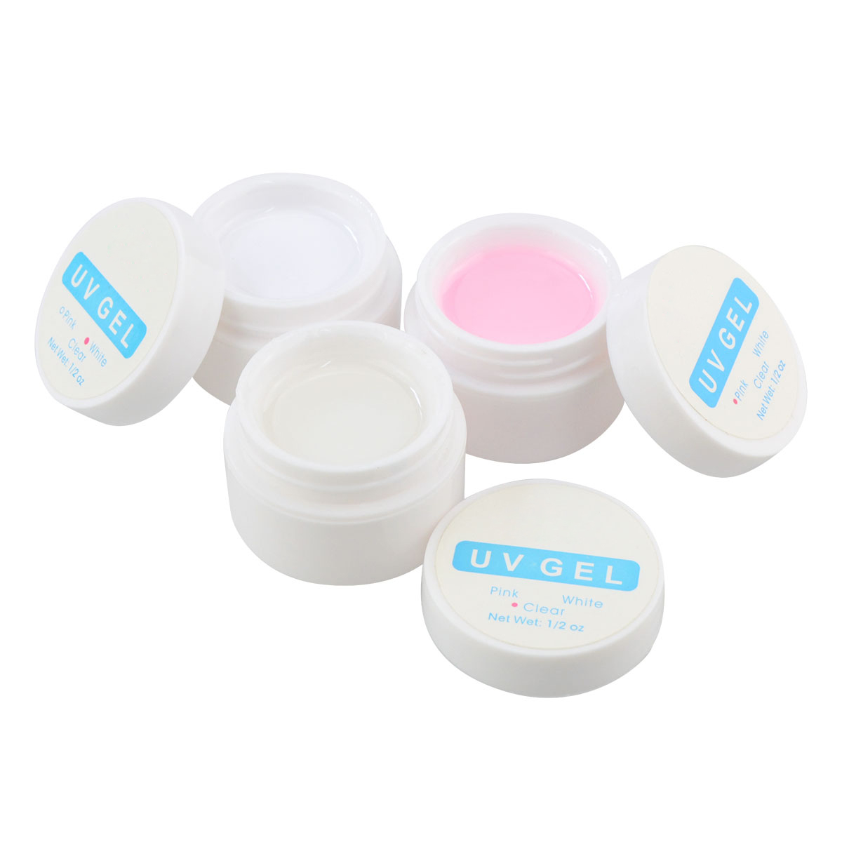 UV Gel Nail Polish Pink White Clear Transparent UV Curing