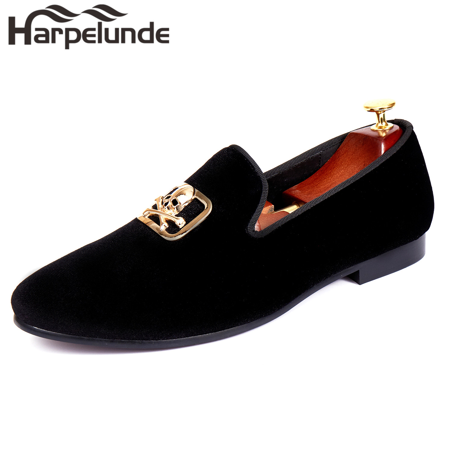 Harpelunde Slip On Dress Wedding Shoes For Men Skull Buckle Black Velvet Loafers Size 6 14 in Formal Shoes from Shoes