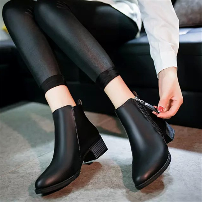 Autumn single boots fashion boots thick heel short boots ...