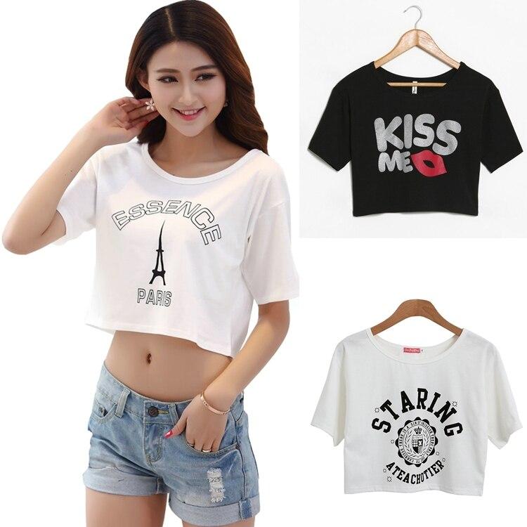 4168cb445 Women crop tops white sexy short t shirt cotton summer print punk ...