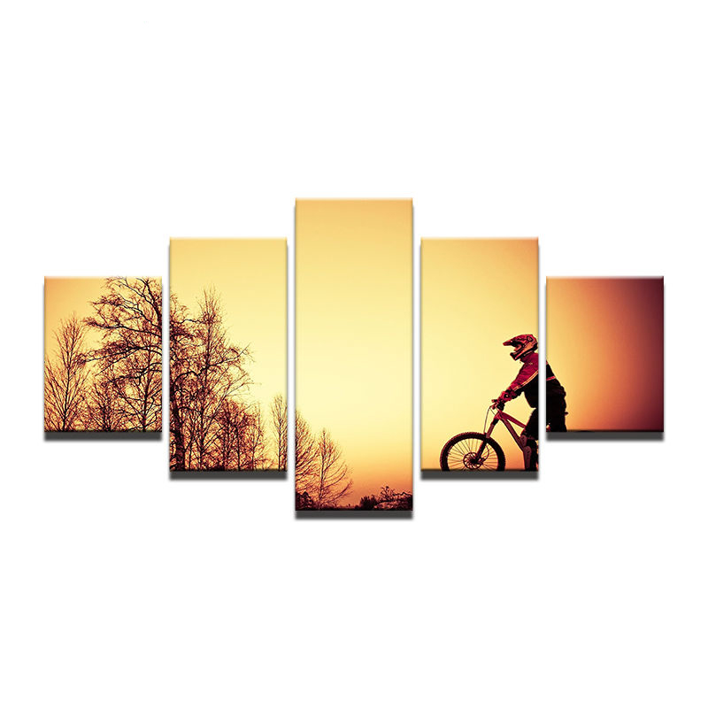 Painting Fashion Canvas Wall Art Prints Home Decoration 5 Panel Outdoor Cycling Sports Modular Pictures For Living Room Framed
