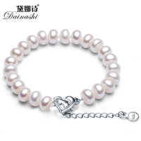 Dainahsi Charm Pearl Bracelet For Women Top Quality 8 9mm Natural Freshwater Pearl Bracelet Silver