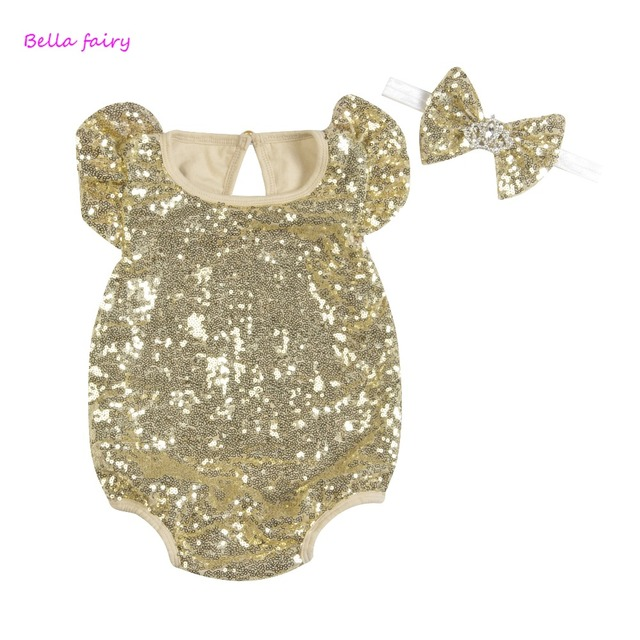 84467f0806f9 2018 Baby Girl Sequined Romper Newborn Infant Summer New Fashion Bow ...